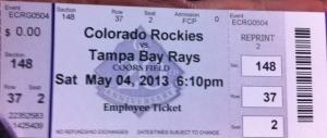 O ticket de entrada para o Coors Field Stadium