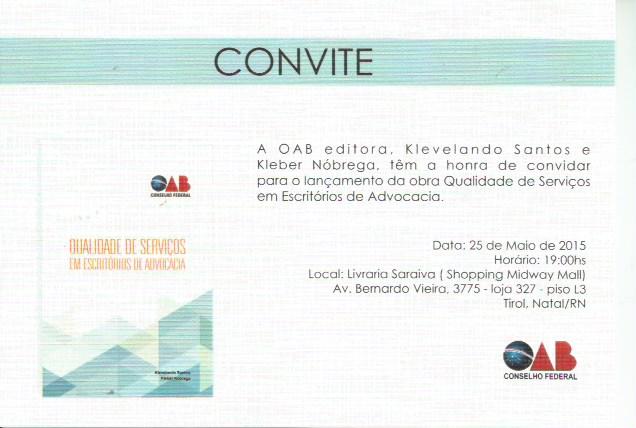 Convite para lançamento do livro QUALIDADE DE SERVIÇOS EM ESCRITÓRIOS DE ADVOCACIA